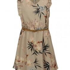 Rochie bej cu print floral detalii din dantela si volane - ONLY Libby - Rochie de zi