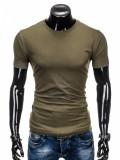 Tricou barbati, verde militar simplu, slim fit, mulat pe corp, bumbac - S884, XL, XXL