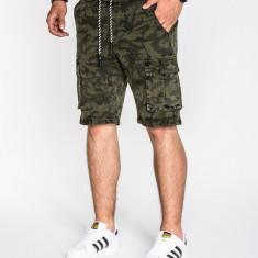 Pantaloni scurti pentru barbati, camuflaj, stil militar, army, cu siret, buzunare laterale, casual - P527, L, M, S