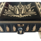 Cutie lemn secreta culoare negru , cutie puzzle cu cheia ascunsa
