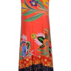 Rochie portocalie cu print floral si maritim Desigual Elena - Rochie de zi