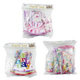 Set accesorii Happy Birthday party, 36 piese multicolore, diverse modele