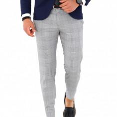 Pantaloni gri in carouri pentru evenimente, slim fit, pentru barbati, A1657, Din imagine