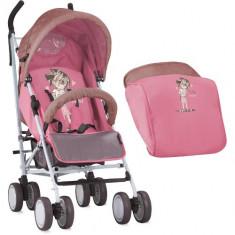 Carucior Sport Ida cu Acoperitoare de Picioare 2018 Beige & Pink Girl