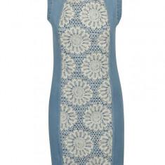 Rochie din denim bleu cu broderie florala Desigual Agatho - Rochie de zi