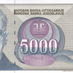 Bancnota Iugoslavia 5.000 Dinari 1992 - P115 UNC