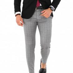 Pantaloni gri in carouri negre, slim fit, pentru barbati, eleganti, A1648, Din imagine