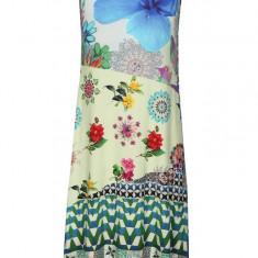 Rochie verde&albastru cu print - Desigual Malena - Rochie de zi