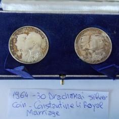 Monede 30 Drachmai argint Constantineli Royal Marriage -8014, Europa, An: 1964