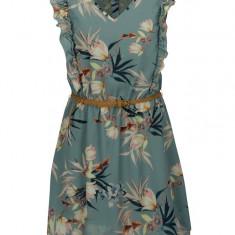 Rochie verde cu print floral si volane - ONLY Libby - Rochie de zi