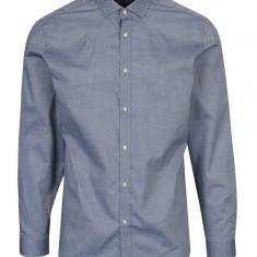 Camasa bleu cu print discret din bumbac - Jack & Jones Premium Samson, Jack & Jones
