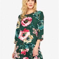 Rochie verde cu print floral si volan ONLY Katehrine - Rochie de zi