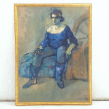 MANUELL MANASTIREANU-PICTOR IESEAN- FEMEIE IN REPAOS- ULEI PE CARTON-1997, Portrete, Realism