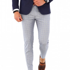 Pantaloni gri in carouri PREMIUM, slim fit, pentru barbati, eleganti, A1644, Din imagine