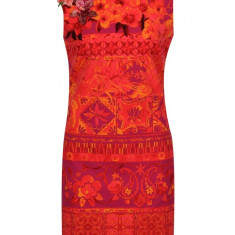 Rochie portocalie cu print floral si paiete Desigual Angelina - Rochie de zi
