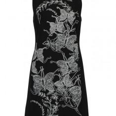 Rochie neagra fara maneci cu print floral si fluturi Desigual Rotterdam - Rochie de zi