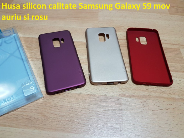 Husa silicon calitate Samsung Galaxy S9 mov auriu si rosu