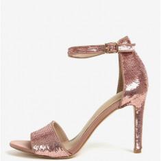 Sandale roz cu paiete si toc cui - ALDO Fiolla - Sandale dama