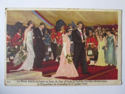 Chromo regina Astrid a Belgiei/ducele d'York Expozitia Universala Bruxelles 1935 foto