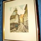 Gravura veche color BEHIN cu straduta de oras vechi stare foarte buna., Scene gen, Carbune, Realism