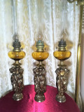 Set trei lampi ulei petrol gaz, stil Renascentist, bronz, cristal Baccarat