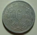 Moneda 6 pence 1894 - Africa de Sud, 2,8276 g argint 0,9250, cotatii ridicate!!!
