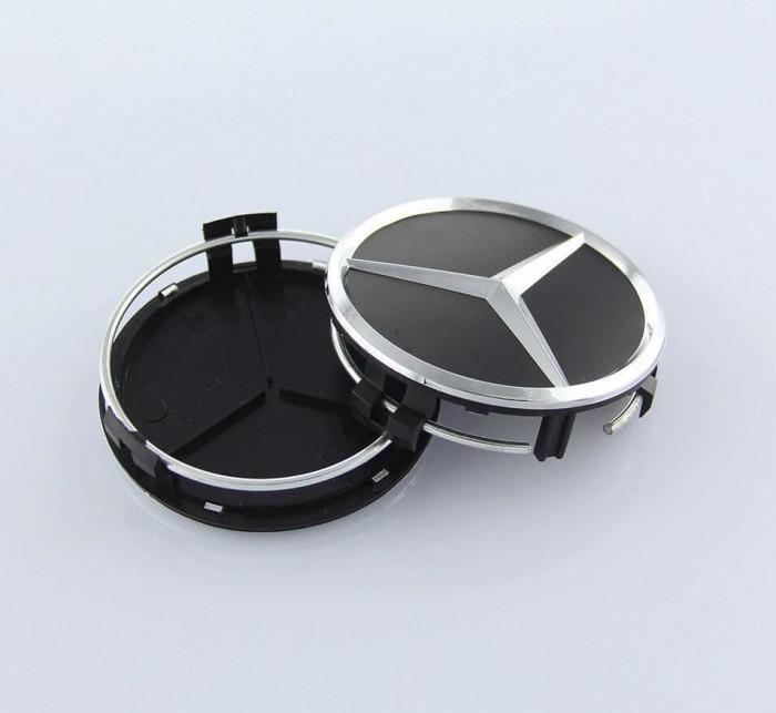 Capace jante MERCEDES BENZ negru mat,7.5cm set 4 bucati capacele janta