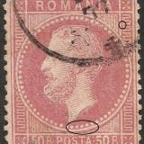 VARIETATE--PUNCT IN GREACA-- CAROL I --1872--MICROSEMNUL STEAG SCURT LA CIFRA, Stampilat