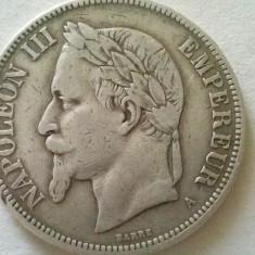 MONEDA 5 FRANCI 1870-FRANTA/AG, Europa, Argint