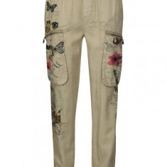 Pantaloni bej cu croi lejer print si broderie - Desigual Eddy
