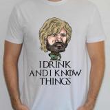 Tricou Game Of Thrones, The Imp, tricouri caricaturi, personalizabile, I Drink, L, M, S, XL, XXL, Maneca scurta, Alb, Albastru, Bleumarin, Gri, Negru, Rosu, Verde