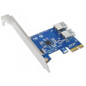 Adaptor Multiplier Riser PCI-E 1X la 2 USB - PCI-E 16X riser nu este incl.