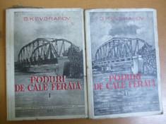Poduri de cale ferată 2 volume 1949 G. K. Evgrafov lemn zidărie beton armat foto