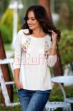 Bluza crem cu imprimeu floral aplicat, Raspberry