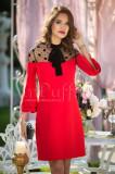 Rochie rosie eleganta cu funda din catifea la gat