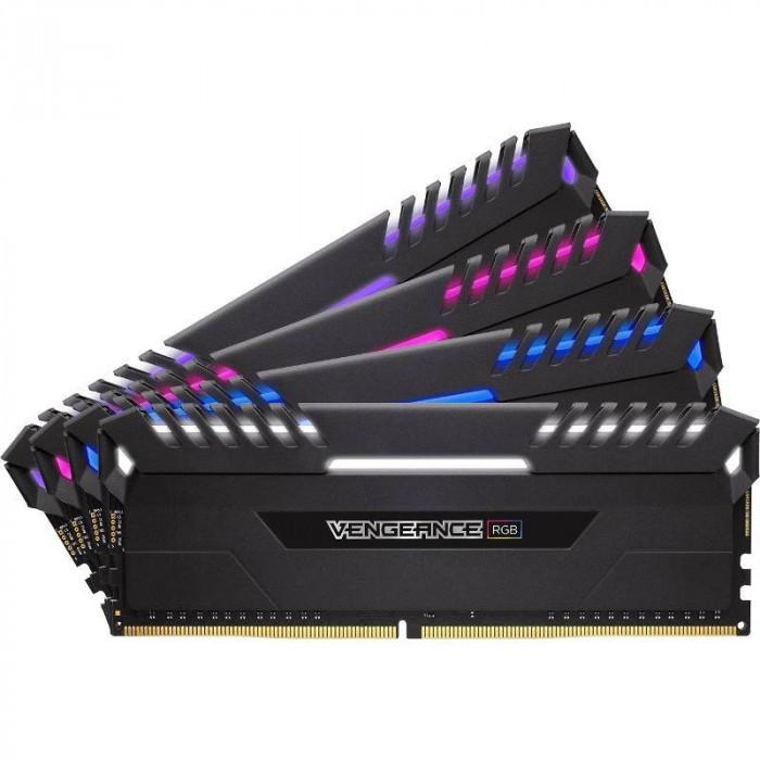 Memorie Corsair Vengeance RGB LED 64GB DDR4 3733MHz CL17 Quad Channel Kit foto mare