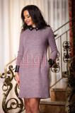 Rochie mov de zi din lana cu detalii din piele ecologica neagra