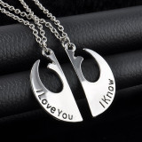 "Pandantiv Medalion Lantisor ""Star Wars"" pentru cupluri I Love You I Know"