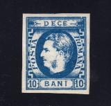 ROMANIA 1869 - CAROL CU FAVORITI 10 BANI ALBASTRU - MVLH, Nestampilat