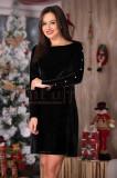 Rochie neagra din catifea cu perle albe pe maneci