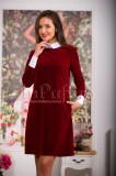 Rochie rosie eleganta din catifea