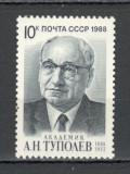 U.R.S.S.1988 100 ani nastere A.Tupolev-constructor de avioane  CU.1542, Nestampilat
