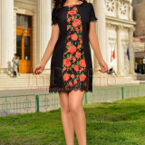 Rochie MBG neagra de ocazie accesorizata cu trandafiri rosii brodati