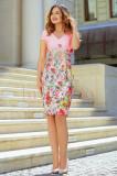 Rochie midi roz cu imprimeu floral, Raspberry