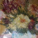 Panza tablou pictata semnata si datata,tablou vechi pictat pe panza,Tp.GRATUIT, Flori, Ulei, Realism