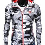 Jacheta pentru barbati, din fâș, stil militar, army, slim fit, cu fermoar si gluga C352-camuflaj-gri-deschis, L, M, S, XL, XXL