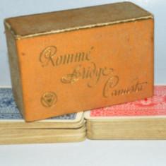 Pachet dublu carti de joc vechi , Romme, Bridge, Canasta - Germania anii '60