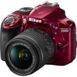 Aparat foto DSLR Nikon D3400, 24,2MP Red + Obiectiv AF-P 18-55mm VR