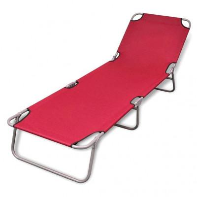 Șezlong roșu pentru plajă pliabil, cu spătar reglabil foto