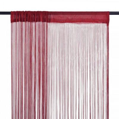 Draperii cu franjuri, 2 buc., 100 x 250 cm, roșu burgund foto